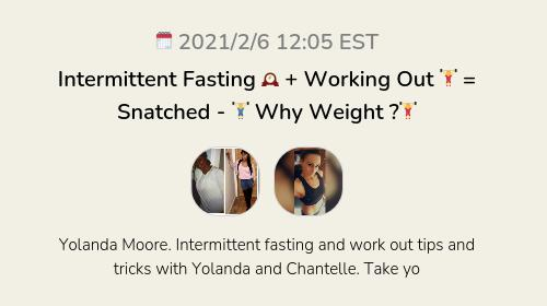 Intermittent Fasting 🕰 + Working Out 🏋️♀️ = Snatched - 🏋️♂️ Why Weight ?🏋️♀️