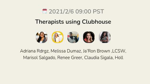 Therapists using Clubhouse