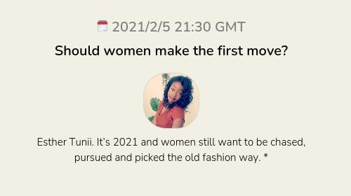 Should women make the first move?